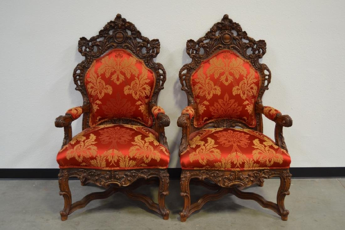 PAIR HIGHLY CARVED TALL BACK HALL CHAIRS