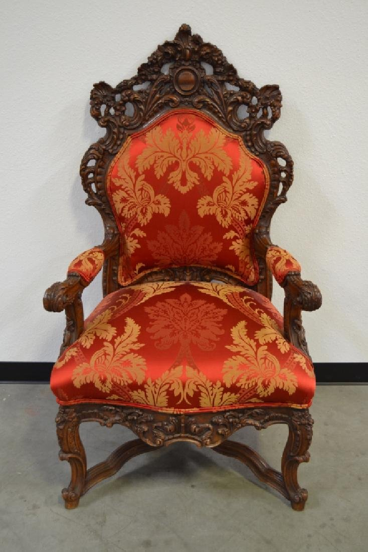 PAIR HIGHLY CARVED TALL BACK HALL CHAIRS - 2