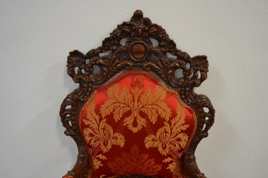 PAIR HIGHLY CARVED TALL BACK HALL CHAIRS - 3