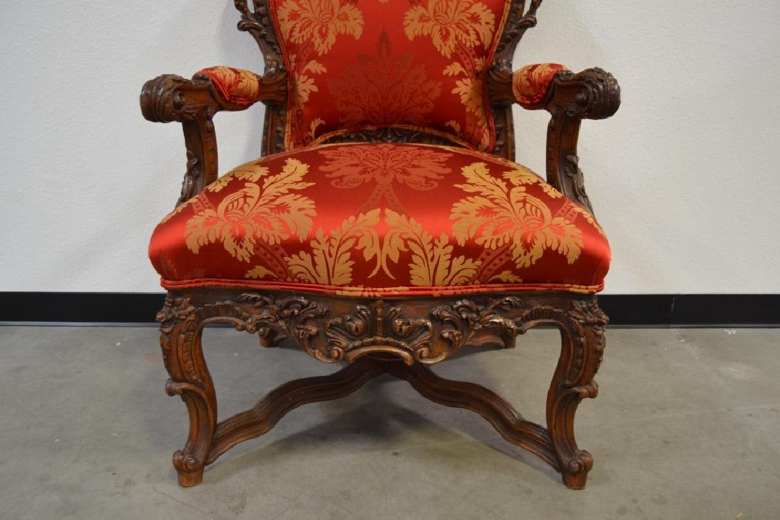 PAIR HIGHLY CARVED TALL BACK HALL CHAIRS - 4