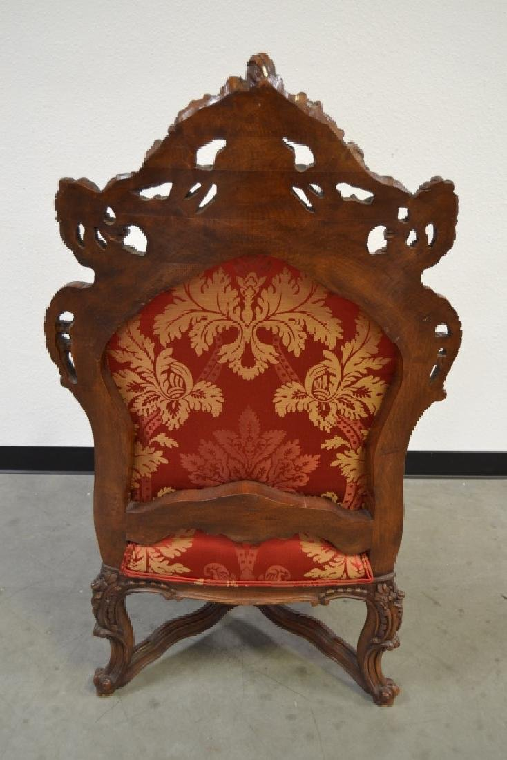 PAIR HIGHLY CARVED TALL BACK HALL CHAIRS - 5