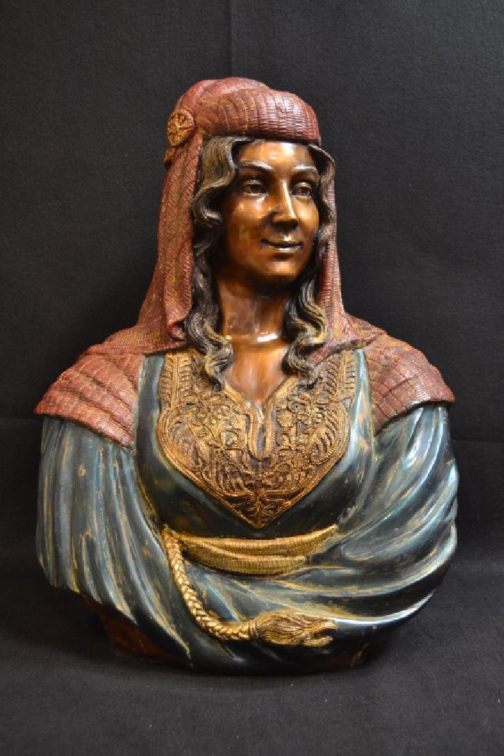 LARGE REBECCA POLYCHROME DECORATED BRONZE BUST