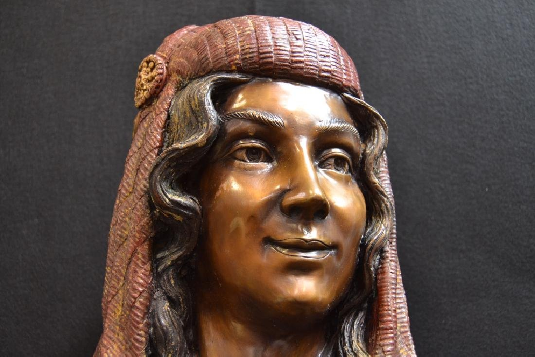 LARGE REBECCA POLYCHROME DECORATED BRONZE BUST - 2