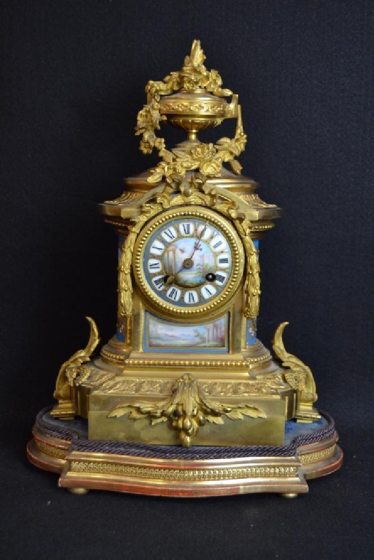 J.W. BENSON LONDON BRONZE & PORCELAIN MANTLE CLOCK