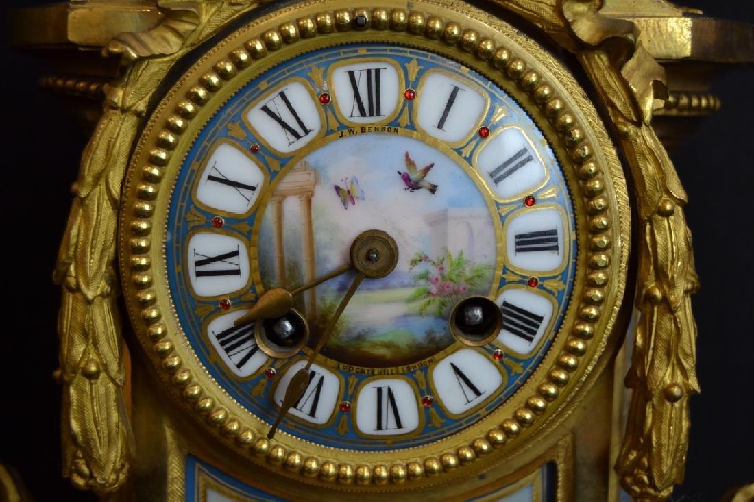 J.W. BENSON LONDON BRONZE & PORCELAIN MANTLE CLOCK - 2