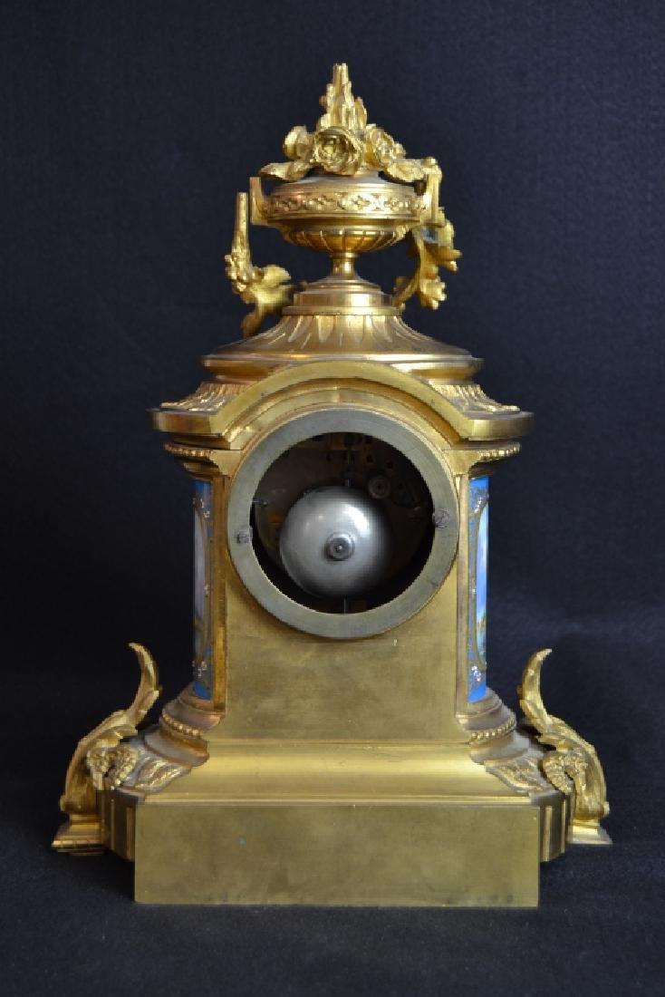 J.W. BENSON LONDON BRONZE & PORCELAIN MANTLE CLOCK - 5