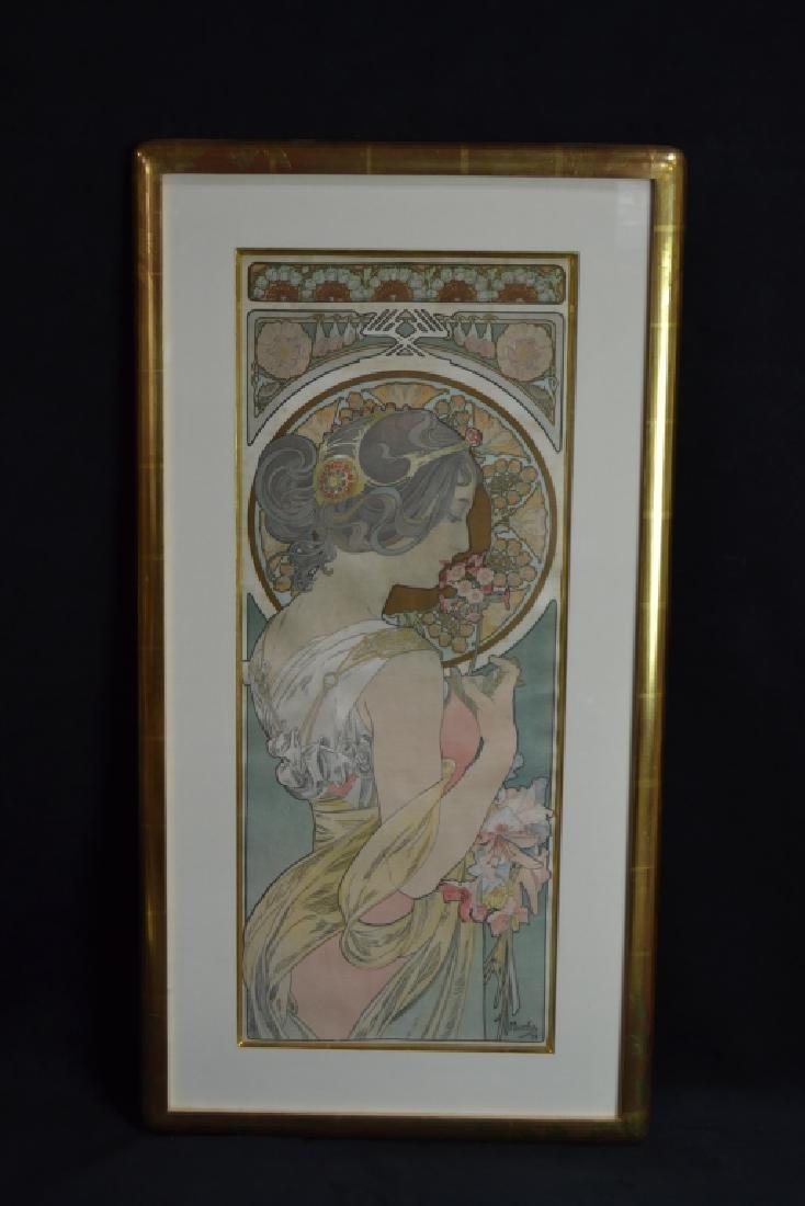 PAIR 1899 ALPHONSE MUCHA LITHOGRAPHS ON SILK - 2