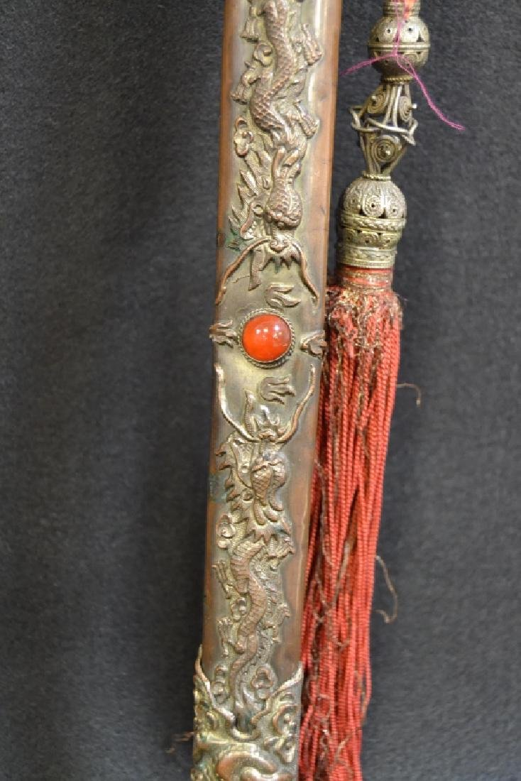 CHINESE SHORT SWORD W/ BRONZE & JEWELED SCABBARD - 2