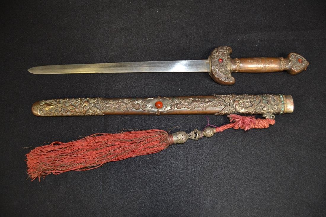 CHINESE SHORT SWORD W/ BRONZE & JEWELED SCABBARD - 5