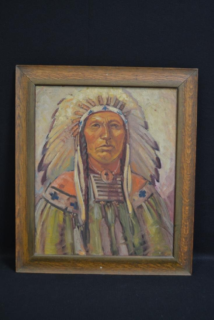 MABLE & OWEN HOLMWOOD INDIAN CHIEF PORTRAIT