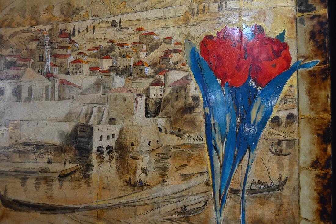 ALIX AYME' LACQUER ON WOOD PANEL TULIP PAINTING - 2