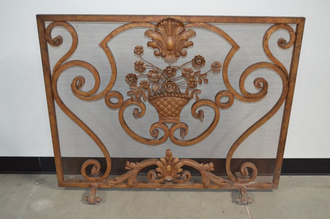 HEAVY WROUGHT IRON FRENCH STYLE FIREPLACE SCREEN