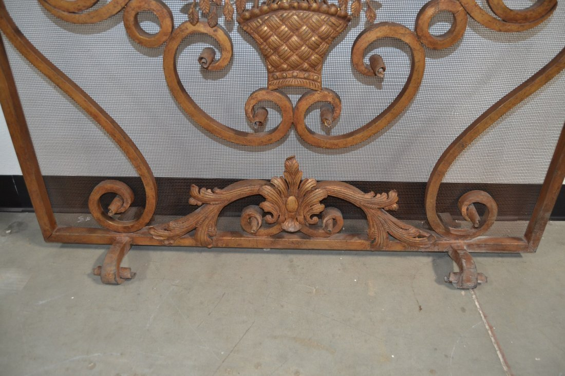 HEAVY WROUGHT IRON FRENCH STYLE FIREPLACE SCREEN - 3