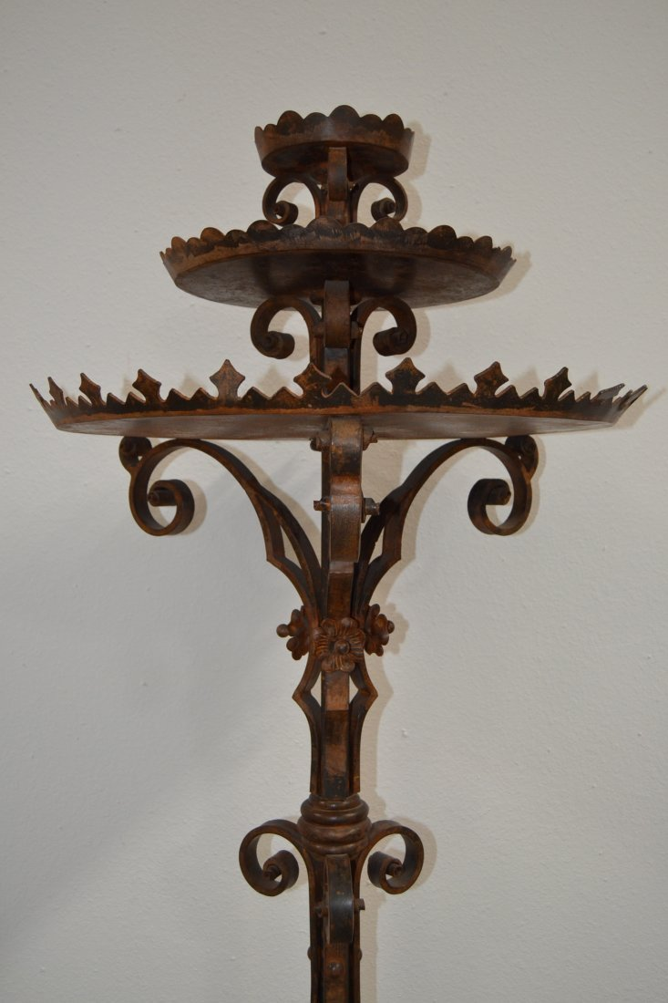 HEAVY WROUGHT IRON SPANISH STYLE FLOOR CANDELABRA - 2