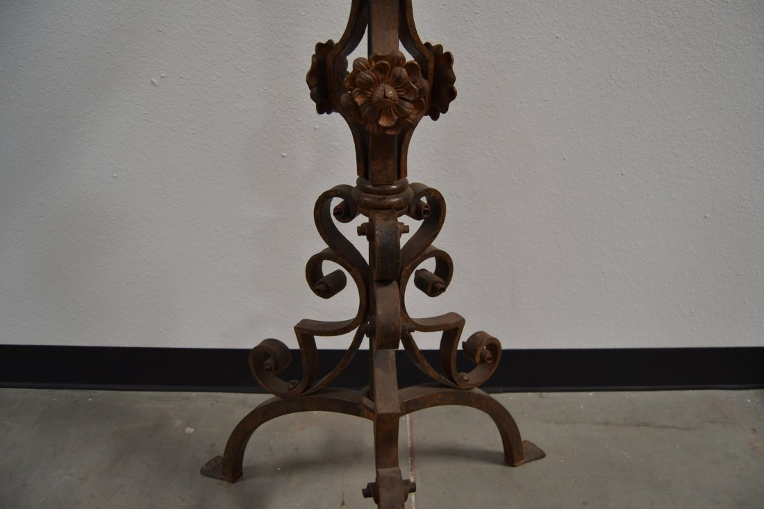 HEAVY WROUGHT IRON SPANISH STYLE FLOOR CANDELABRA - 4