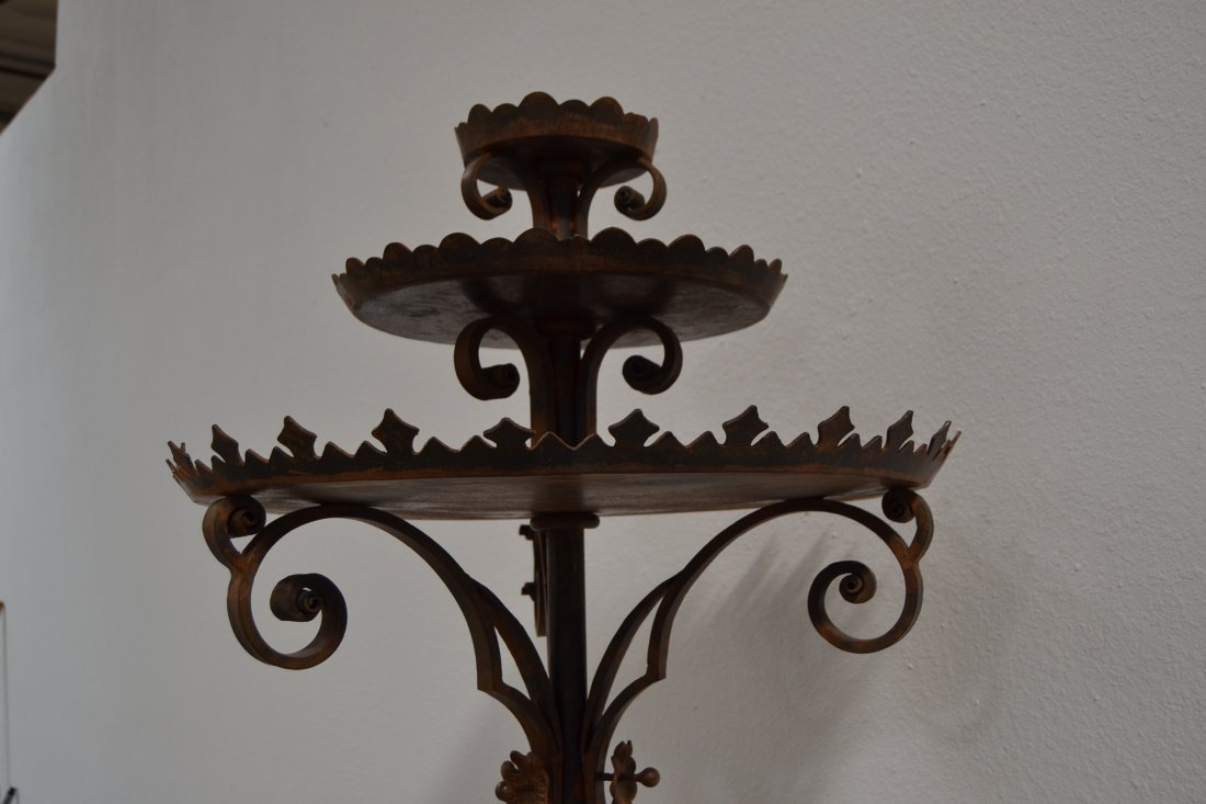 HEAVY WROUGHT IRON SPANISH STYLE FLOOR CANDELABRA - 6