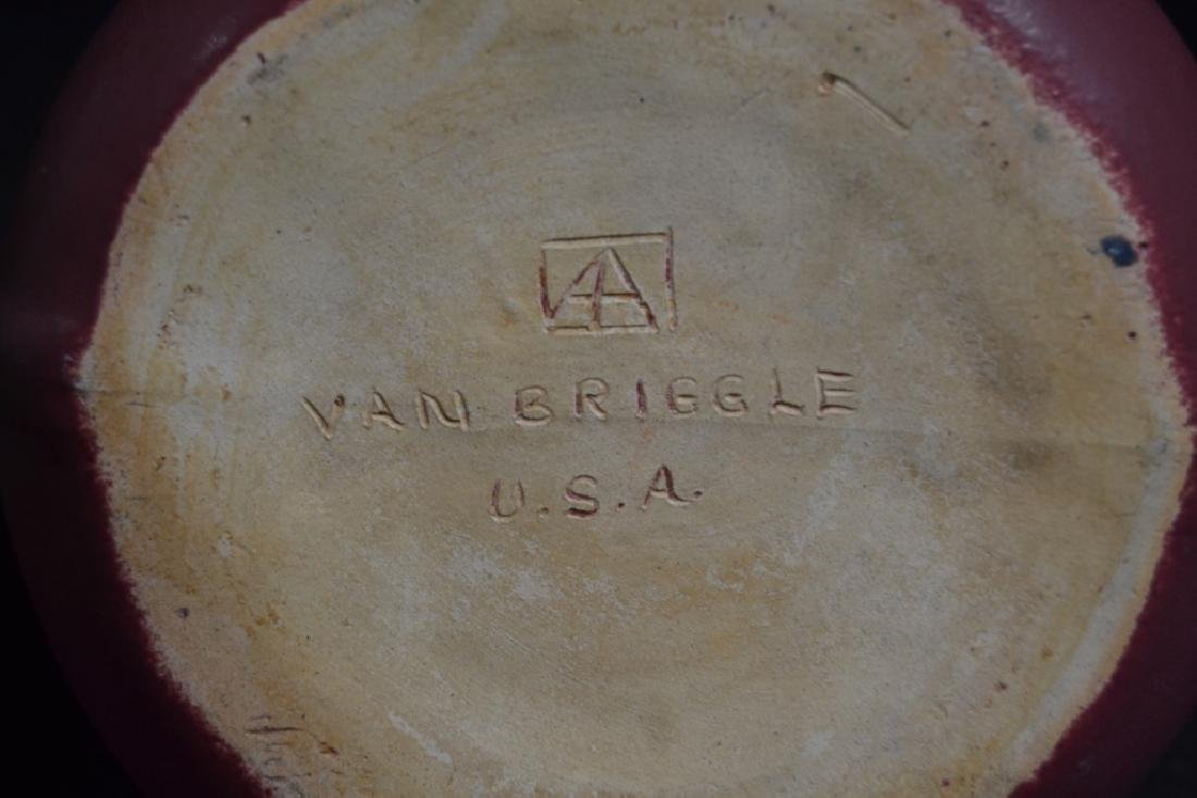 LARGE 1920'S VAN BRIGGLE 2-HANDLED POTTERY VASE - 3