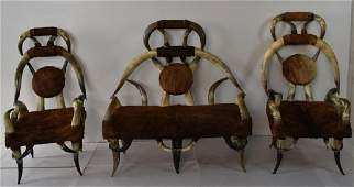 3 PC. COW HORN SETTEE SET W/ COWHIDE COVERING