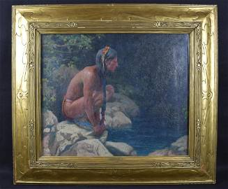 EANGER IRVING COUSE INDIAN BY STREAM O/C