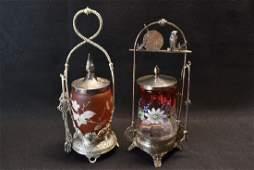 2 VICTORIAN GLASS PICKLE CASTORS