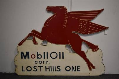 MOBIL OIL CORP LOST HILLS PAINTED WOOD SIGN