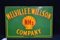 MELVILLE E. WILLSON NH3 COMPANY SHELL SSP SIGN