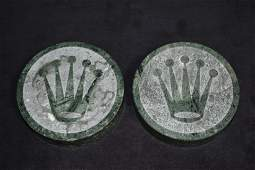 LOT OF 2 VINTAGE GREEN MARBLE ROLEX PAPER WEIGHTS