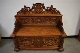 1890'S RJ HORNER CARVED OAK FIGURAL HALL BENCH