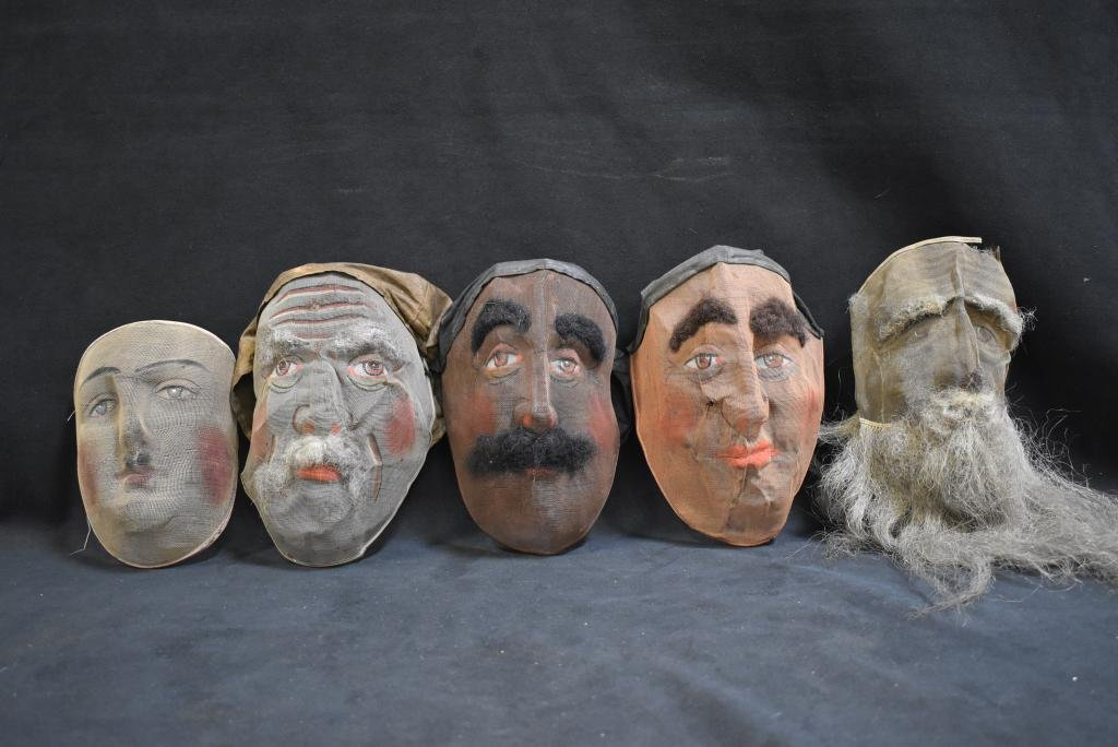 5 LATE 19TH C. TO EARLY 20TH C. WIRE MESH MASKS