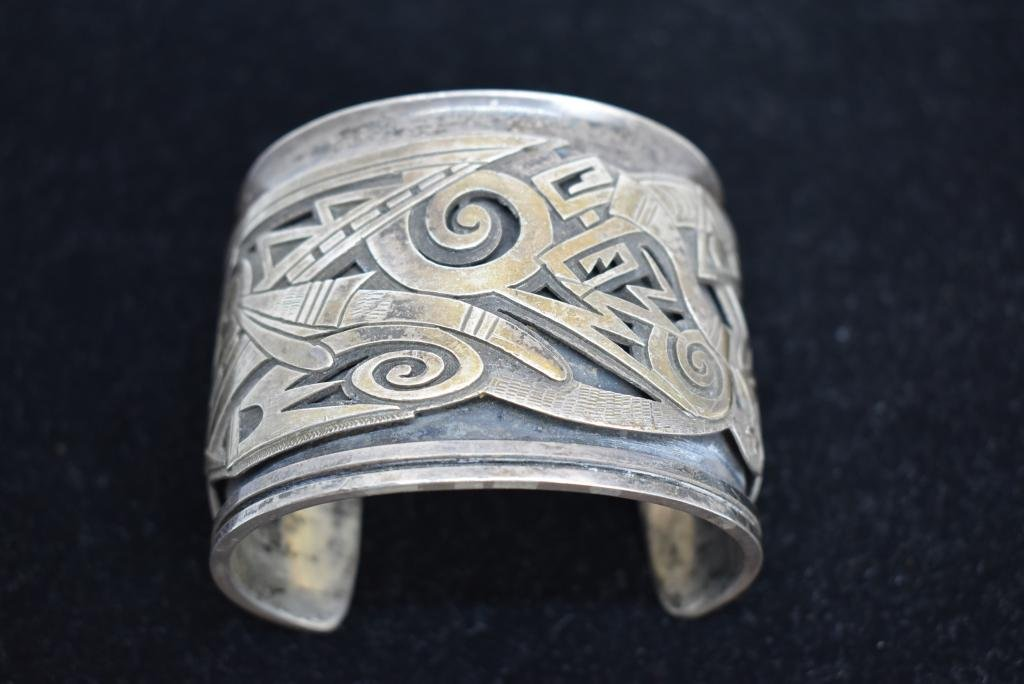 SIGNED LOMAWYWESA HOPI STERLING SILVER CUFF