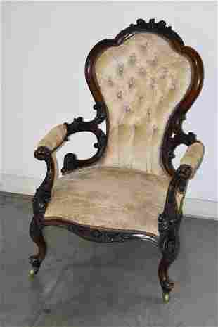 VICTORIAN PARLOR CHAIR W/ FLORAL CARVING