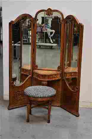 1920'S 3 PANEL OAK DRESSING MIRROR WITH STOOL