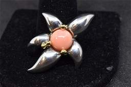 TIFFANY & CO. 14KT GOLD & STERLING CORAL PIN