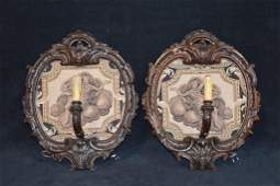 PR ITALIAN CARVED WOODEN WALL SCONCES