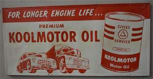 Cities Service Koolmotor Oil w/vehicles Sign (TAC)