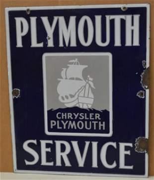 Plymouth Service w/ Ship logo Porcelain Sign (TAC)