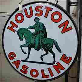 Houston Gasoline w/logo Porcelain Sign (TAC)