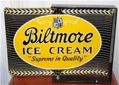 1962 Biltmore ice cream metal spinner flange sign