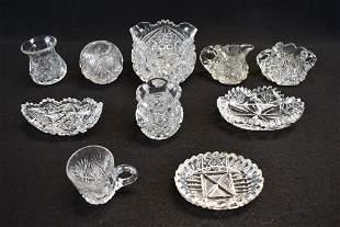 10 PCS. OF MINIATURE AMERICAN BRILLIANT CUT GLASS