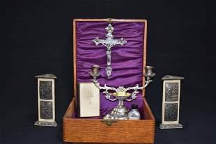 ANTIQUE CATHOLIC LAST RITES OR COMMUNION SET