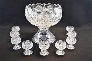 AMERICAN BRILLIANT CUT GLASS PUNCH BOWL SET
