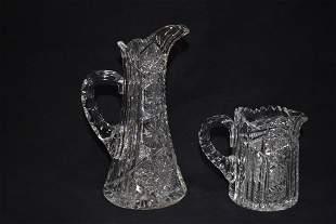2 MINIATURE AMERICAN BRILLIANT CUT GLASS PITCHERS