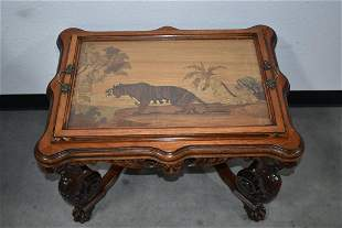 UNUSUAL 1920'S MARQUETRY TRAY TOP TABLE