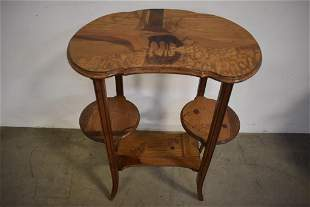 GALLE STYLE 3 TIER INLAID SIDE TABLE