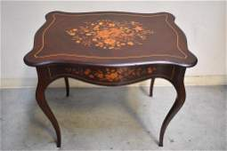 FRENCH VICTORIAN INLAID PARLOR TABLE