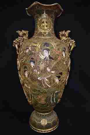 MONUMENTAL SHIMAZU SATSUMA FLOOR VASE UPDATED