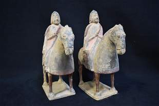 PR. CHINESE TOMB POTTERY HORSEMAN FIGURES