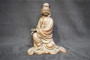 CHINESE BRONZE STATUE OF A WOMAN