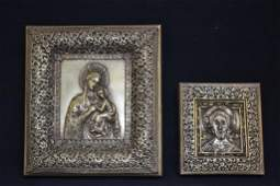 2 SMALL SILVERED METAL RUSSIAN ICONS