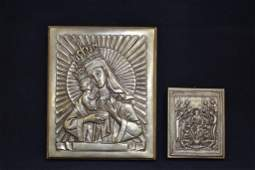 2 RUSSIAN SILVERED METAL ICONS